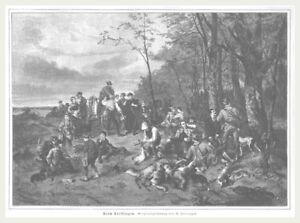 """Treibjagd """"beim Treibjagen"""" Schöne Darstellung Jäger & Waidmann Orig.holzstich Erschienen 1886 Alte Berufe"""