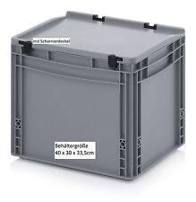 Stabile Behälter mit Scharnier-Deckel 40x30x33,5 cm für Lager Transport Material