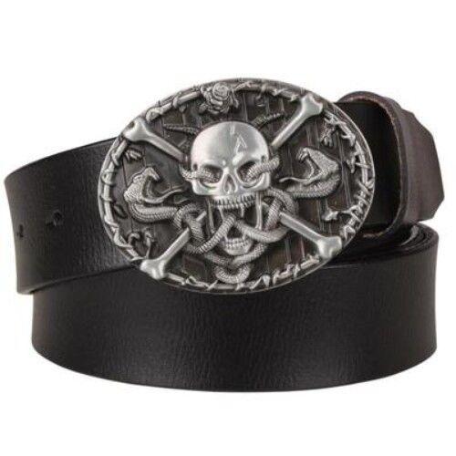 Mens Genuine Leather Belt Skull Snake Cross Large Metal Buckle Punk Rock Biker