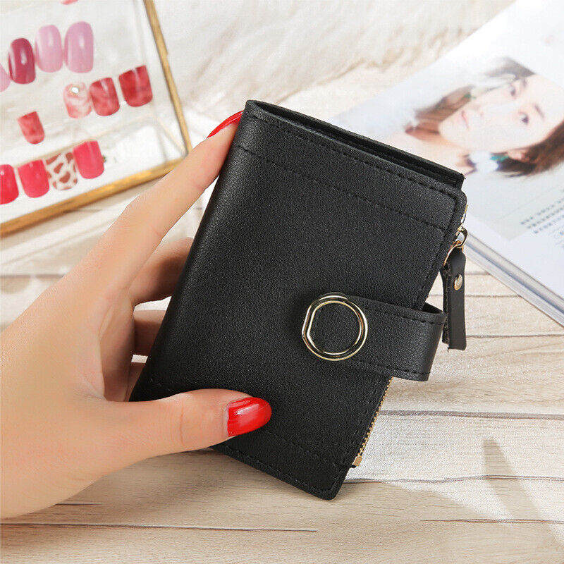Gift Solid Color Women's Short Wallet Small Mini Cute Wallet Buckle Pu Leather