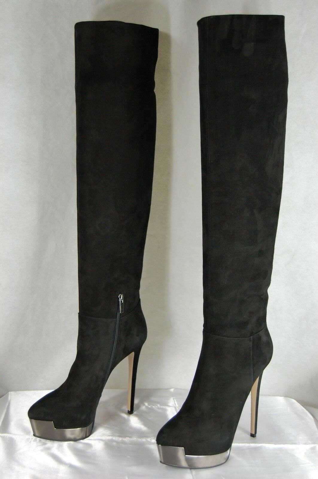 SUPER SEXY    LE SILLA HIGH HEEL BLACK SUEDE OVER THE KNEE BOOTS EU 38 US 8