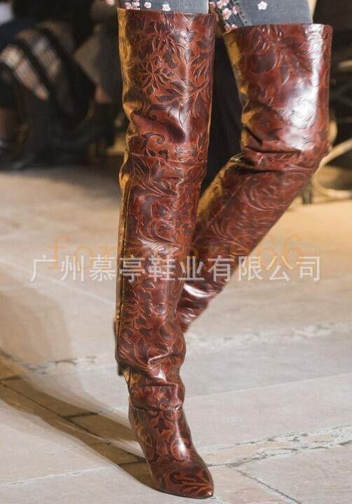 Damen Mode Laufsteg Stiefel T-SHOW Overkneestiefel Lederstiefel Hoher Absatz NEU