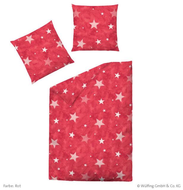 Dormisette Weihnachtsbettwäsche Biber Bettwäsche Sterne Rot 135x200