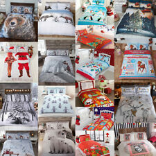 Winter & Christmas Print Duvet Quilt Cover Bedding Set & Pillowcases