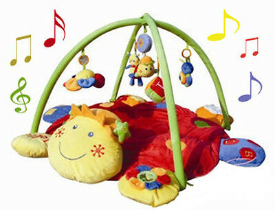 Turtle Shaped Baby Play Arch Mat Gym with Musical Lullaby and Dangle Toys