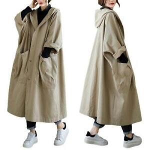 Damenmode Windbreaker Kapuze Oversize Große Taschen Mantel Stylish Leisure Neu D