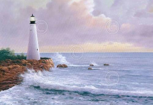 Diane Romanello Eternal Light Lighthouse Beach Water Ocean Print Poster 38x28