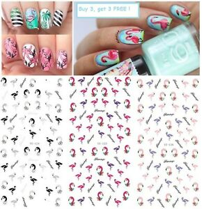 Nail-Art-Water-Decals-Transfers-Stickers-Summer-Palm-Trees-Flamingo-Beach