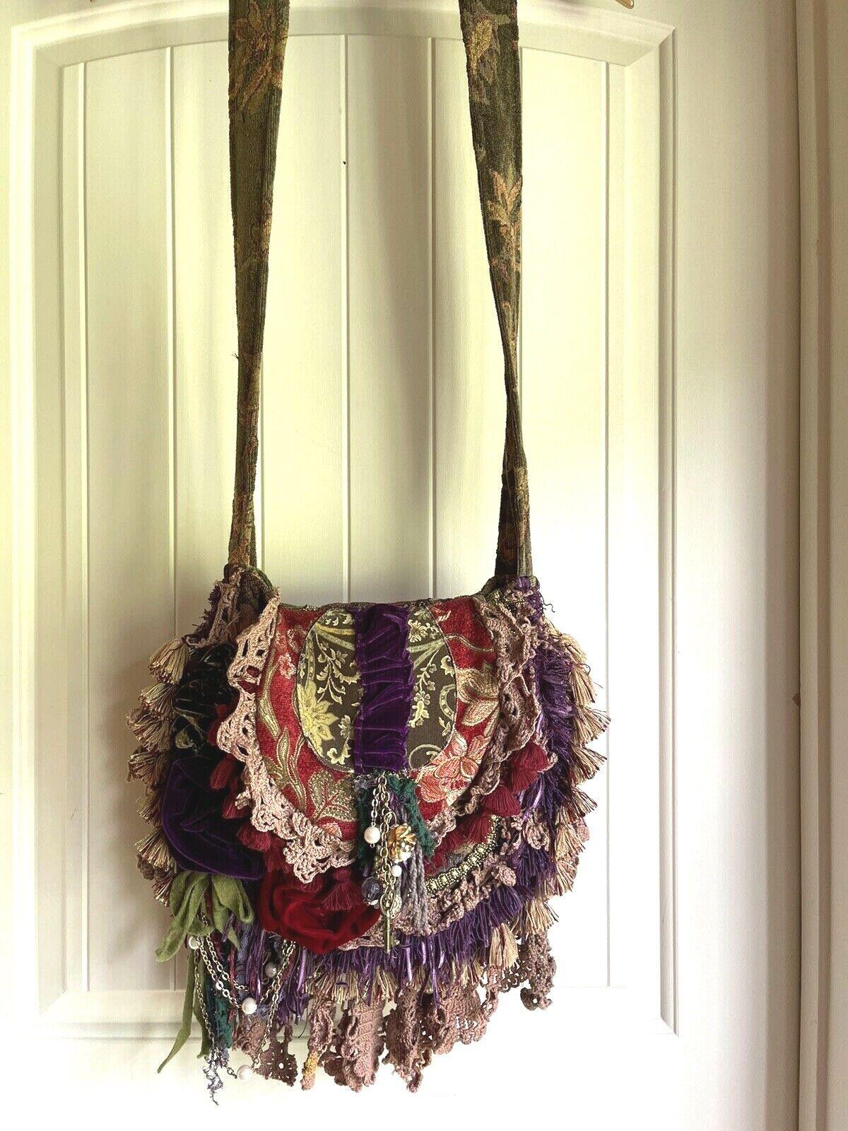 STUNNING Crossbody Tapestry Handbag Bohemian Hippie Gypsy Renaissance Hobo XL