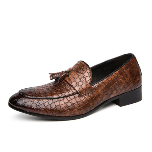 Mens Low Top Snakeskin Leather Shoes Pointy Toe Polish Slip on Business Party Sz