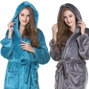 UK Womens Soft Hooded Long Bathrobe Dressing Gown Housecoat Ladies ... 172c182a4