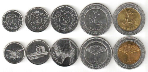 Yemen  5 Coins set 1 5 10 20 Rials 20 Rials bi-metal mixed year  UNC