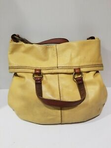 9993621f1e67 Lucky Brand Bandit Leather Fold-Over Yellow Hobo Shoulder Bag Peace ...