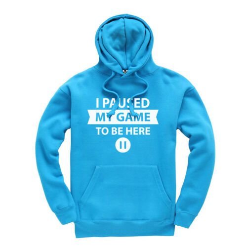 Funny Kids Gaming Hoodie Ages 3-13 I Paused My Game To Be Here Pause Button
