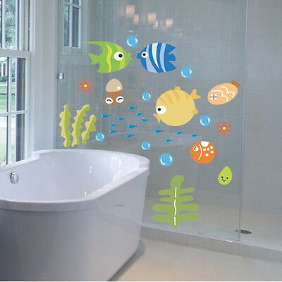 Lovely Tropical Cartoon Fish Sea Bubble Ocean World Removable Wall Sticker Wash