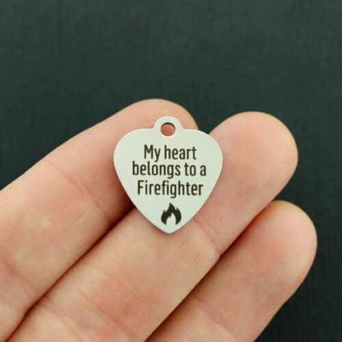 My heart belongs to a Firefighter Stainless Steel Charm BFS2412