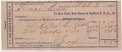 NEW YORK /& NEW ENGLAND RAILROAD Dr. 1882-4 Freight Receipt