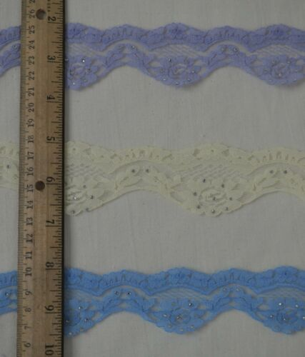 """Lace 2y cut Floral Scalloped with Crystals ~1 3//4/"""" w 3 Beautiful Colors!"""