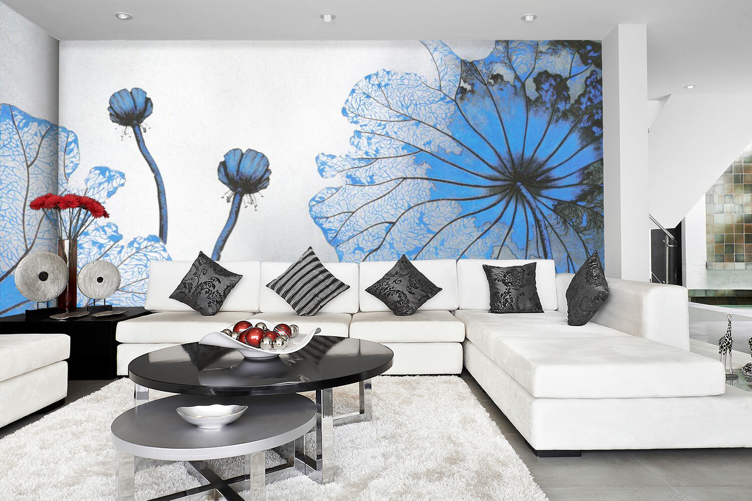 3D bluee Bright Flower Art 0193 Wall Paper Wall Print Decal Wall AJ WALLPAPER CA