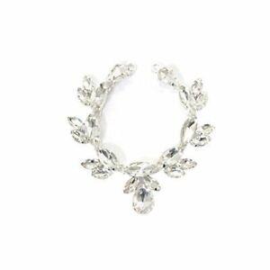 Silver-Rhinestone-Diamante-Crystal-Sew-on-Chain-Applique-Motif-Wedding-Trim-B205