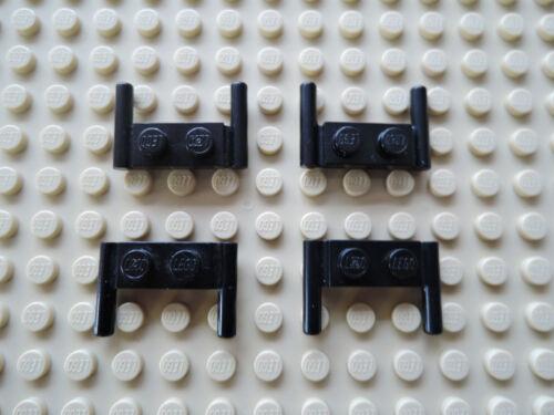LEGO 10 x plaque 3839 avec 2 baignoire Poignée Barre Noir 1x2