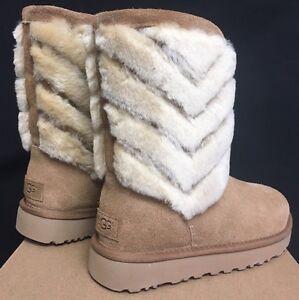 744dc389b56 Details about UGG Australia Tania Chestnut Suede Sheepskin Short Boots 5  Womens Cuff 1012391