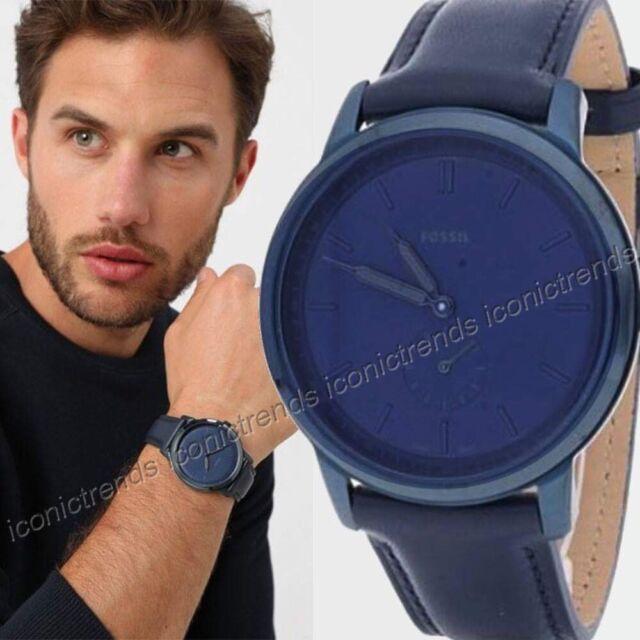 NWT 🌎 Fossil FS5448 The Minimalist Dark Blue Leather Band Men's 44mm Blue Watch