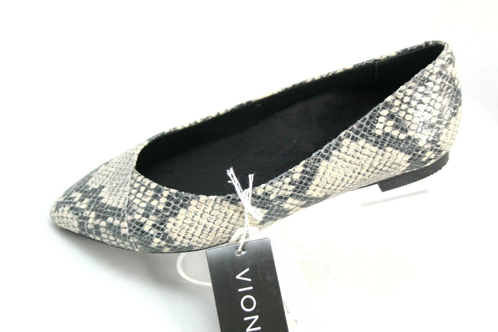 Vionic Caballo Womens Sz 6 Natural Snake Print Orthotic Pointed Ballet Flat
