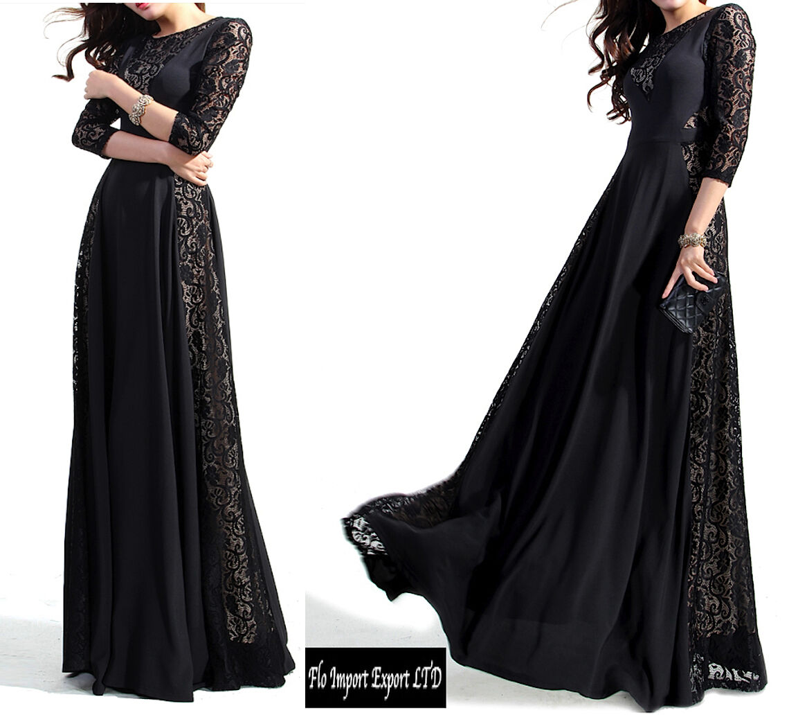 Kleid lang Frau Spitze High Quality Lace Frau Maxi-Kleid VERG001