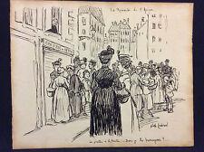 """Encre thème épicerie signée Nathalie Lachenal """" la revanche de l'épicier"""" C 1910"""