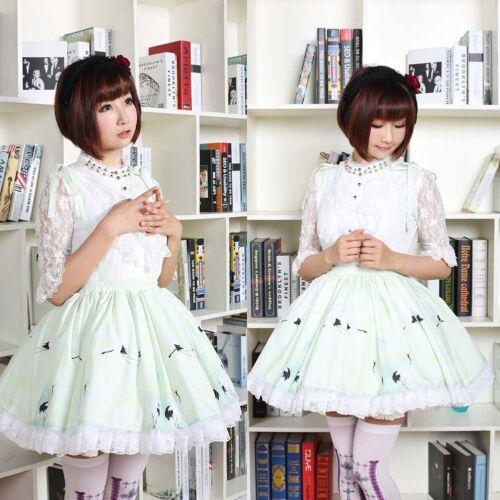 Japanese Sweet Green Suspender lace polyester dresses Crane Lolita Skirt