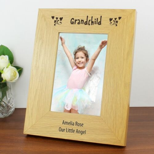 PERSONALISED Grandchild Photo Picture Frame 6x4 Wooden Oak Finish Gift