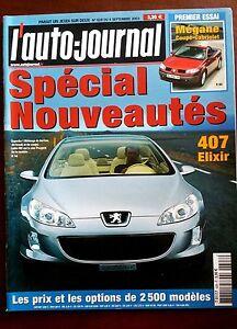 Copieux Auto Journal 4/09/2003; Spécial Nouveautés/ 407 Elixir/ Mégane Coupé-cabriolet TrèS Poli