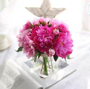 6-Head-Artificial-Silk-Rose-Peony-Flower-Home-Wedding-Party-Bridal-Bouquet-Decor