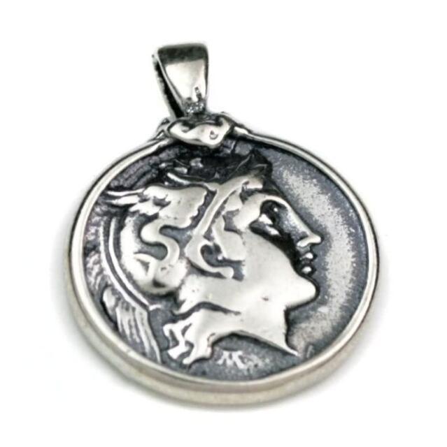 Goddess Athena Greek Coin Pendant Sterling Silver 925