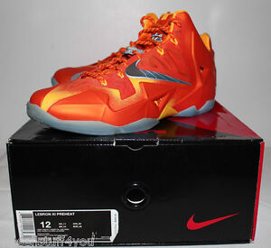 127b04cf421 Nike Air Lebron 11 XI Preheat Forging Iron Orange Sneakers Men s ...