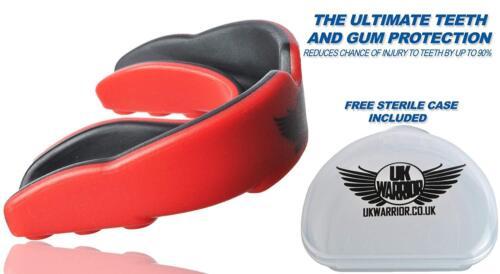 UK Warrior gumshield DENTI Guard Protezione Boxe MMA Rugby Boccaglio Adulti