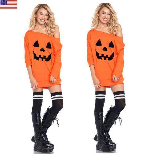 Women Casual Long Sleeve Cold Shoulder Pumpkin Costume Halloween Fancy Dress
