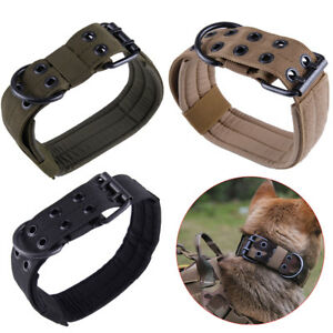 Tactique-militaire-Collier-chien-Entrainement-reglable-Laisse-nylon-Dog-Collar