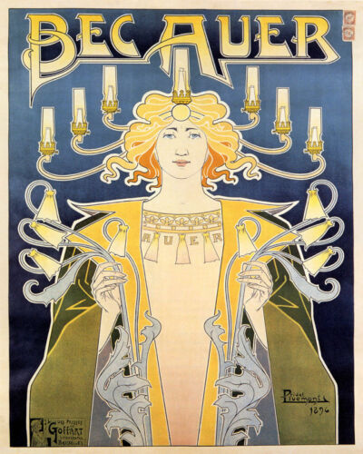 POSTER BECAUER CANDELABRUM INCANDESCENT GAS BRIGHT LIGHT VINTAGE REPRO FREE S//H