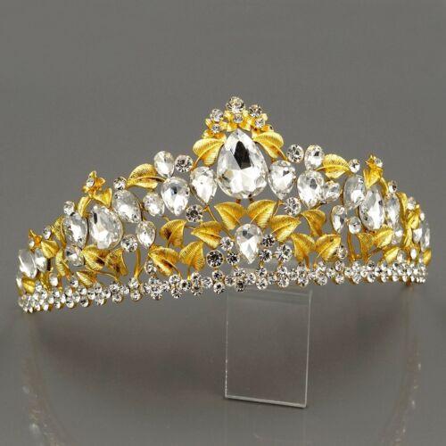 Wedding Austrian Crystal Rhinestone Tiara Crown Bridal Party Pageant 0247 Gold