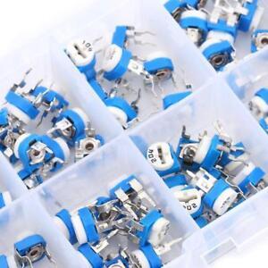 100X-10-value-Resistors-Variable-Potentiometer-Assortment-Kit-Box-500ohm