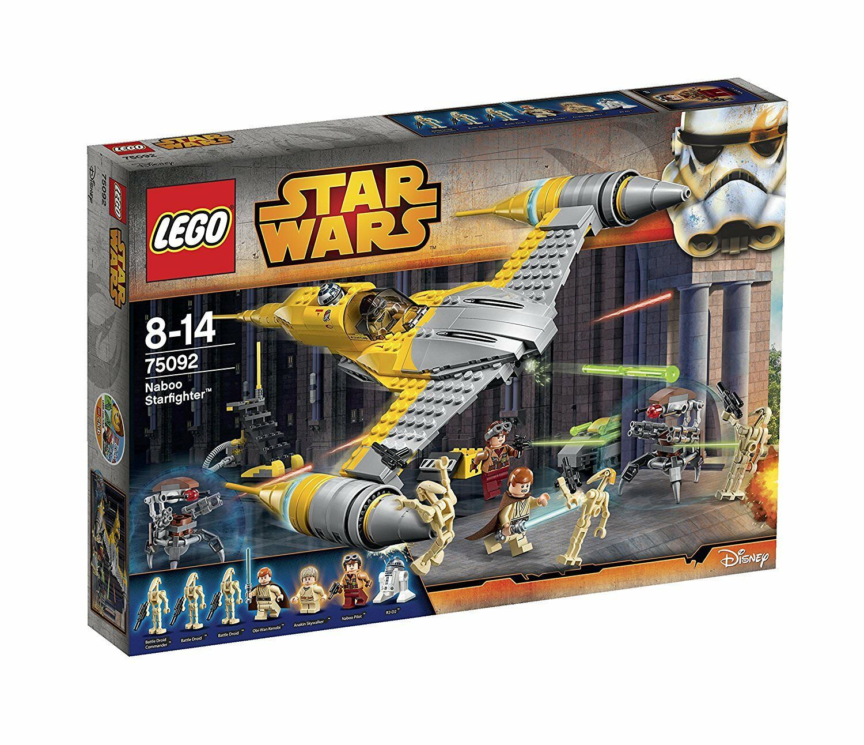 Lego stjärna Clone Wars 75092 Naboo stjärnafighter Anakin Obi -One R2 -D2 Minifigur NY