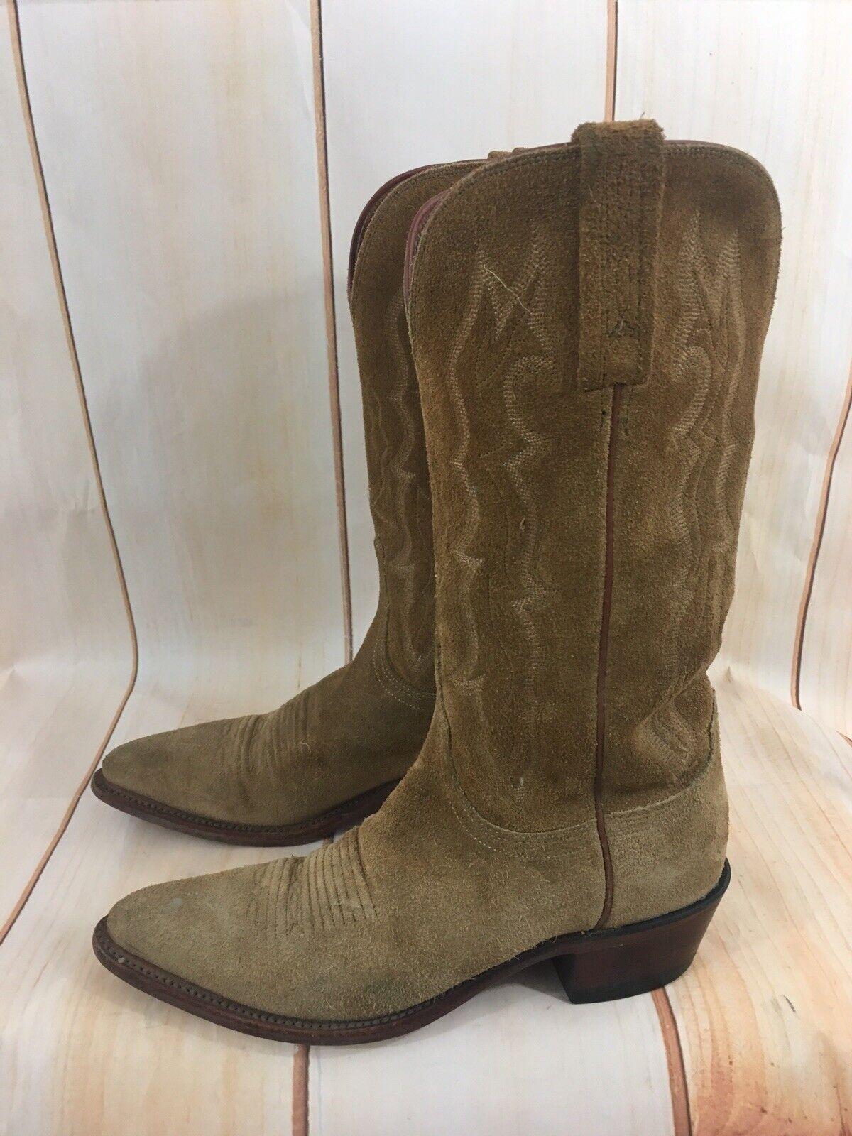 Lucchese para mujer botas de Vaquero 1883 Gamuza Cuero Marrón botas B