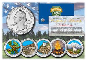 2012-America-The-Beautiful-COLORIZED-Quarters-U-S-Parks-5-Coin-Set-w-Capsules