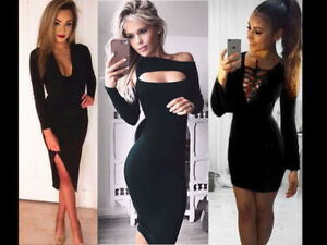Womens-Long-Sleeves-Cut-Out-Bodycon-Midy-LBD-Dress-Slinky-Sholace-Party-Skirt-UK