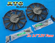 "2 x 14"" INCH 12V UNIVERSAL SLIM ELECTRIC RADIATOR ENGINE BAY COOLING FAN + MOUNT"