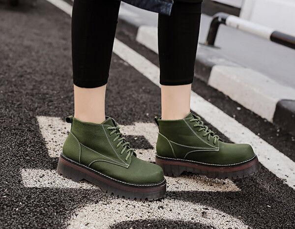 botas Elegantes bajo 5 verde blancoo botas Militares Piel Sintético Cw771
