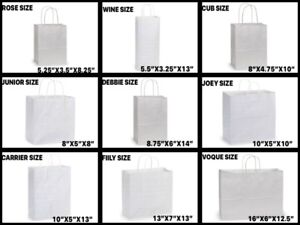WHITE Kraft Shopping Gift Bags (#60 Paper Weight) Choose Size & Package Amount