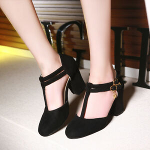 Women-039-s-Round-Toes-Chunky-Heels-Mary-Jane-Ankle-T-strap-Sandals-Causal-Dress